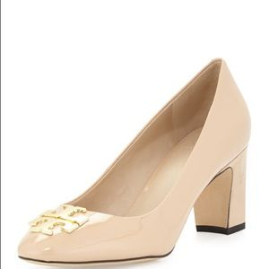 Tory Burch Raleigh Logo Leather Pump, Nude Size 8